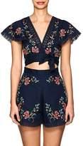 Zimmermann Women's Laelia Floral Cross-Stitched Linen-Cotton Crop Top