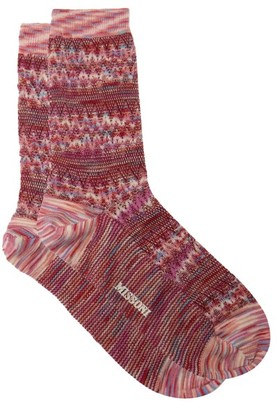 Missoni Zigzag-jacquard Space-dyed Wool-blend Socks - Pink Multi
