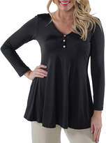 24/7 Comfort Apparel Three Button Henley Tunic Top-Plus