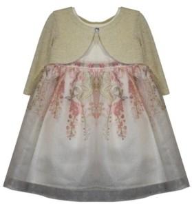 Blueberi Boulevard Little Girls Cardigan Dress with Reverse Border