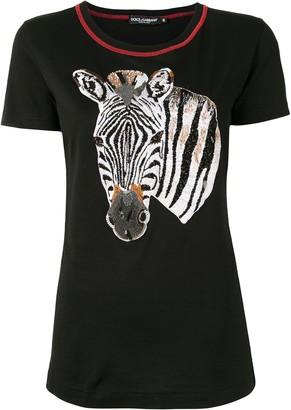 Dolce & Gabbana zebra embroidered T-shirt