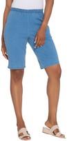 """Denim & Co. 11"""" Side Pocket Pull-On Shorts - Indigo"""