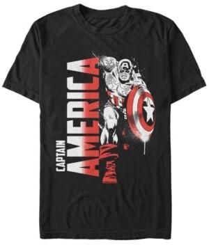 Marvel Men's Comic Collection Retro Captain America Fierce Pose Short Sleeve T-Shirt