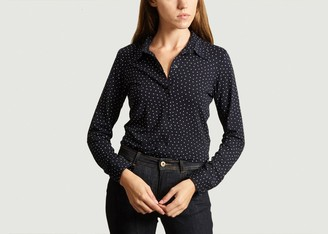 agnès b. Navy Blue Paola Stretch Viscose Shirt - 1   viscose   navy blue - Navy blue