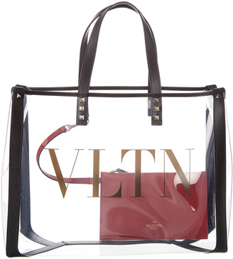 Valentino Small Vltn Leather & Pvc Tote