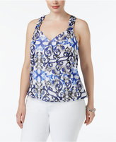 INC International Concepts Scroll-Print Blouson Top, Created for Macy's