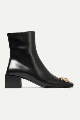 Balenciaga Embellished Leather Ankle Boots - Black
