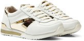 Michael Kors White and Gold Zia Allie Lace Up Trainers