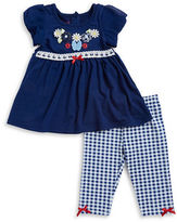 Nannette Baby Girls? Floral Applique Top and Gingham Pants Set