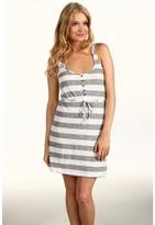 Roxy Pretty View Dress (Blue Black Stripe) - Apparel