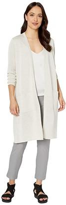 Eileen Fisher Petite Fine Organic Linen Crepe Sparkle Simple Long Cardigan (Bone) Women's Clothing