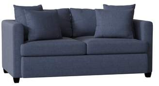 "Piedmont Furniture Velvet 72"" W Square Arm Sofa Piedmont Furniture Body Fabric: Bulldozer Lightning, Pillow 1 Fabric: Delnorte Slate, Pillow 2 Fabric: Bulldozer Lightnin"