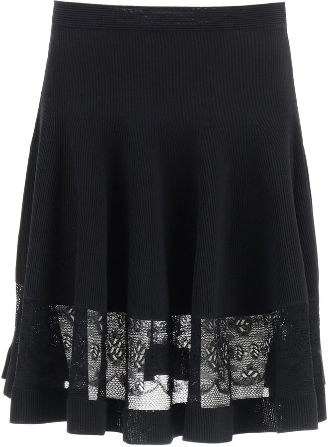 Thumbnail for your product : Alexander McQueen MINI SKIRT WITH LACE S Black