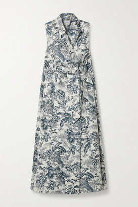 Erdem Ezra Sleeveless Belted Floral-jacquard Coat - White