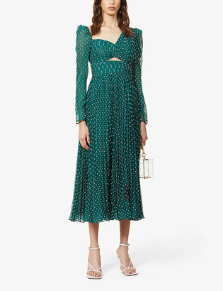 Self-Portrait French knot-embroidered crepe midi dress