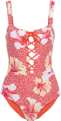 Onia Raquel Lace-up Floral-print Swimsuit