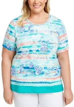 Alfred Dunner Plus Size Miami Beach Printed Lattice-Neck Top