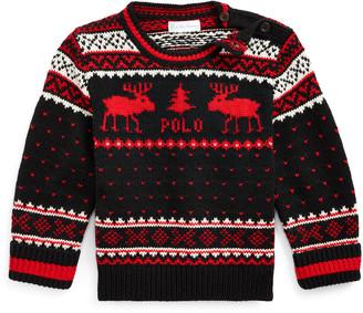 Ralph Lauren Childrenswear Boy's Reindeer Fair Isle Knit Sweater, Size 6-24 Months