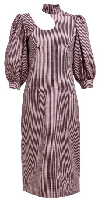 Ganni Striped Cotton Blend Seersucker Midi Dress Pink Shopstyle
