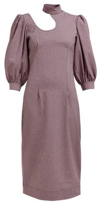 Ganni Striped Cotton-blend Seersucker Midi Dress - Pink