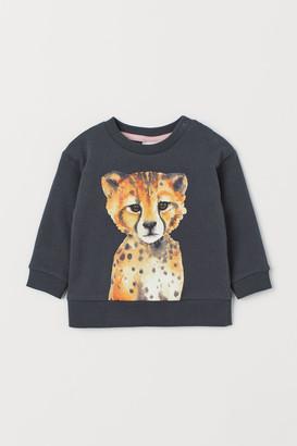 H&M Printed Sweatshirt - Gray