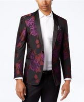 Tallia Black, Purple and Red Floral Print Slim-Fit Big and Tall Dinner Jacket