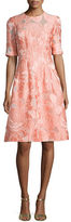 Lela Rose Floral Fil Coupe Half-Sleeve Dress