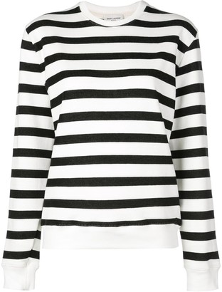 Saint Laurent Crew Neck Striped Sweatshirt