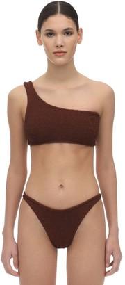 Hunza G Nancy One Shoulder Seersucker Bikini Set