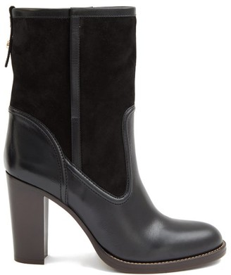 Chloé Suede And Leather Ankle Boots - Black