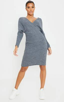 PrettyLittleThing Oatmeal Wrap Front Off Shoulder Knitted Dress