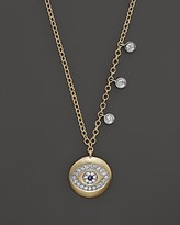Meira T Yellow Gold Evil Eye Necklace with Diamond Bezels, 16