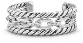 David Yurman Wellesley Link Pave Diamond & Sterling Silver Three-Row Cuff