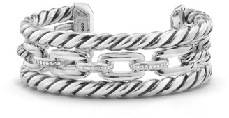 David Yurman Wellesley Link Pave Diamond & Sterling Silver Three-Row Cuff