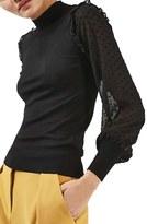 Topshop Women's Chiffon Sleeve Sweater