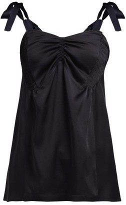Colville - Ruched Sleeveless Satin Top - Black
