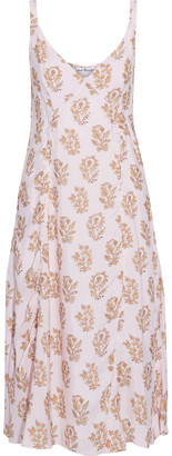 Acne Studios Darcie Ruched Floral-print Shell Midi Slip Dress