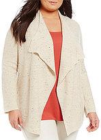 Eileen Fisher Plus Peppered Cotton Wool Nylon Cascade Cardigan