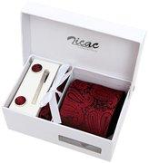 "Zicac Men's Handmade Necktie with Cufflinks Pocket Square and Tie Clip 3"" (Wine Red)"