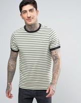 Farah Ally Stripe Ringer T-Shirt Slim Fit in Green