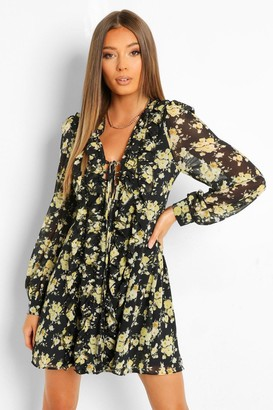 boohoo Floral Ruffle Front Lace Up Mini Dress