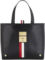 Thom Browne Striped small leather tote