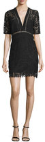Veronica Beard Sage Seamed Lace Mini Dress, Black