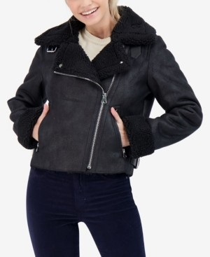 Sebby Junior's Faux Shearling Moto Coat