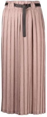 Alysi Belted-Waist Pleated Skirt