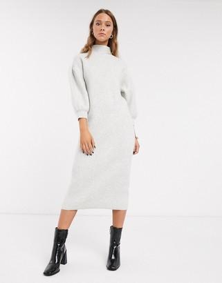 Asos Design DESIGN balloon sleeve midi dress with high neck-Grey
