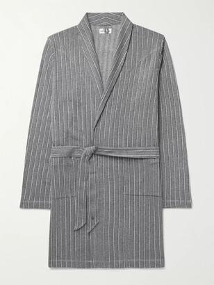 Hamilton and Hare - Striped Melange Cotton Robe - Men - Blue