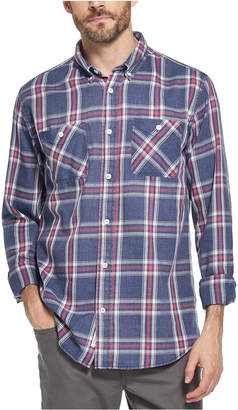 Weatherproof Vintage Men Indigo Blues Plaid Shirt