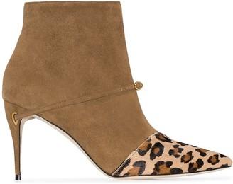 Jennifer Chamandi Niccolo leopard-print panel ankle boots