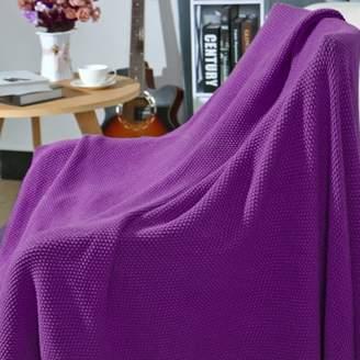 """Unique Bargains Solid Soft 100% Cotton Knit Throw Blanket, 50"""" x 60"""", Purple"""